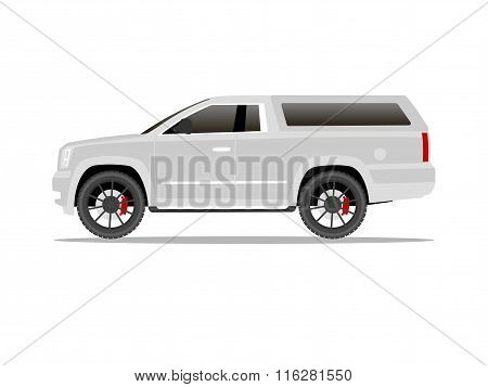 White Pickup Truck Two Door With Black Wheels And Cap