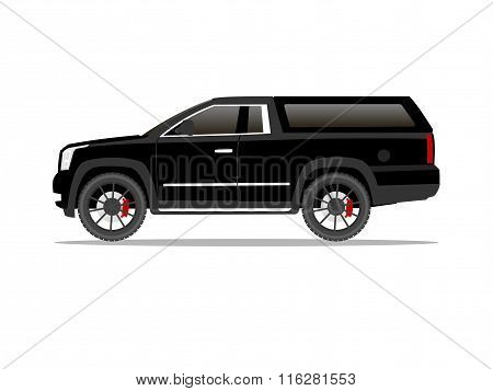 Black Pickup Truck Two Door With Black Wheels And Cap