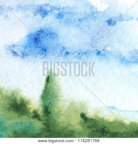 Watercolor Green Cyan Nature Tree Sky Landscape