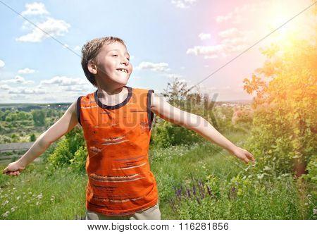 Happy Smiling Kid Outdoor.