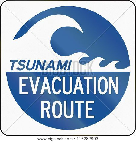 United States Mutcd Emergency Road Sign - Tsunami Evacuation Route