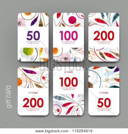 Gift coupon, discount card template with  floral ornament background