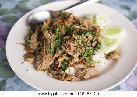 Stir Fried Pork With Holy Basil And Rice