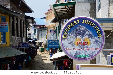 Street market cafe and restaurants of Lukla city.City is known by one of most dangerous airports