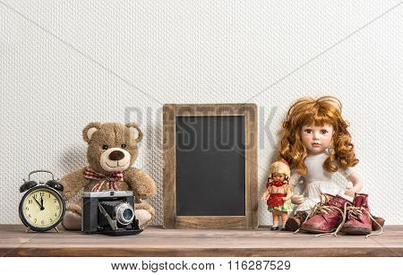 Doll, Teddy Bear, Chalkboard And Vintage Toys