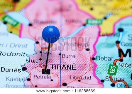 Tirana pinned on a map of Albania