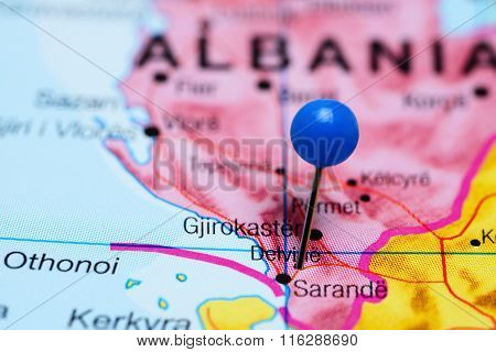 Delvina pinned on a map of Albania