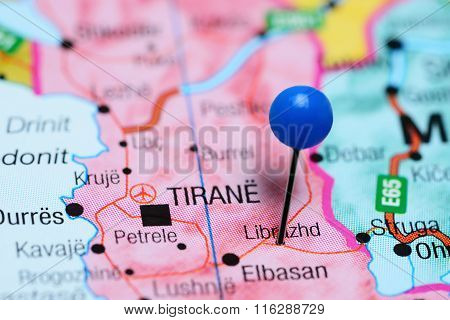 Librazhd pinned on a map of Albania