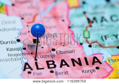 Lushnje pinned on a map of Albania
