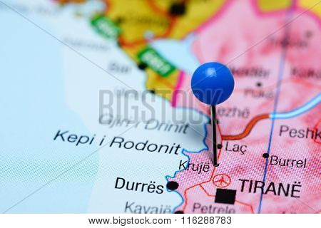 Kruja pinned on a map of Albania
