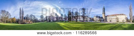 Weimar City Castle With Ilm Park And Old Castle