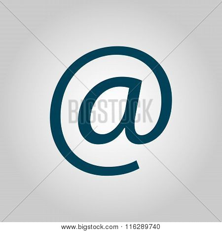 Email Blue Icon On Grey Background