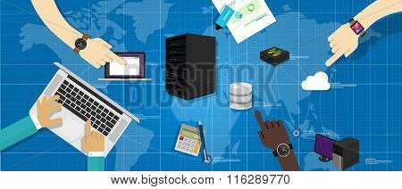 intranet network server database router cloud internet interconnected world map IT infrastructure ma