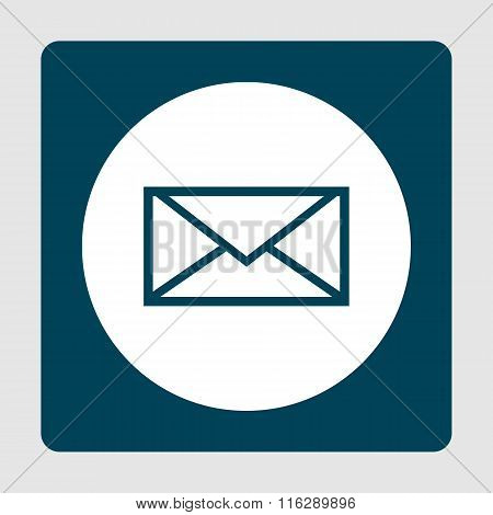 Envelope Blue Icon On Button Style Background