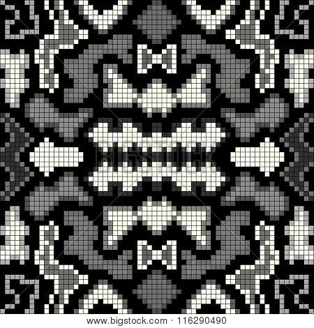 Pixel Monochrome Seamless Geometric Pattern