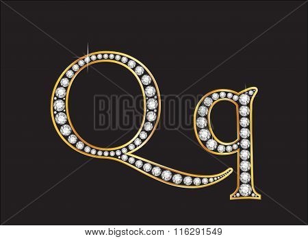 Qq Diamond Jeweled Font With Gold Channels
