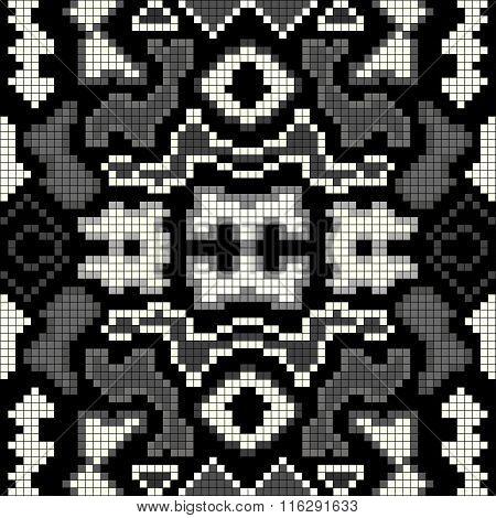 Monochrome Abstract Geometric Background Seamless Pattern Pixels