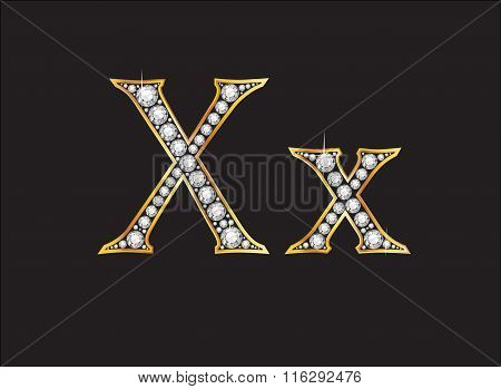 Xx Diamond Jeweled Font With Gold Channels