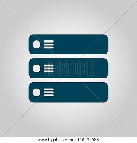 Server Blue Icon On Grey Background