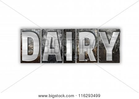 Dairy Concept Isolated Metal Letterpress Type
