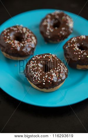 Home made chocolate donuts with sprinkels