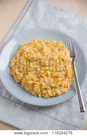 Home made risotto with sweet potato and parmesan cheese