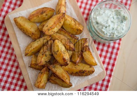 Home made potato wedges with cream cheese dip