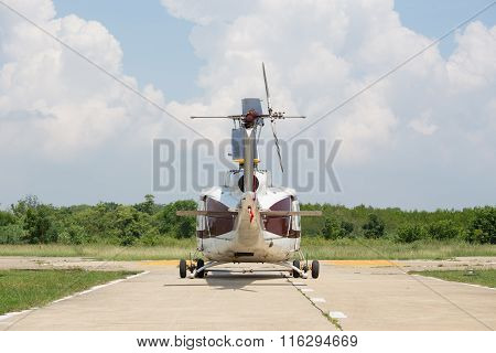 rear view  Of Helicopter Parking