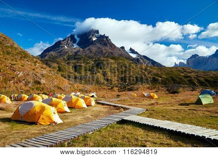 Camping in Torres del Paine national park.  Patagonia, Chile