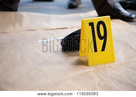 Evidence marker In Crime Scene