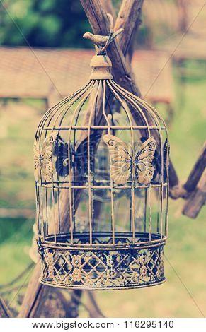 Birdcage - garden decoration in vintage style
