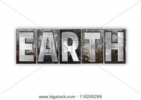 Earth Concept Isolated Metal Letterpress Type