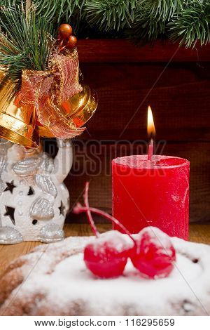 New Year Candle With Christmas Pudding