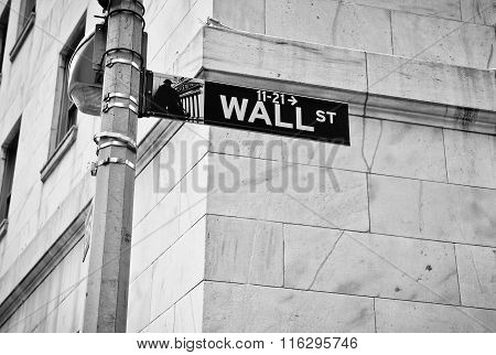 Wall Street road sign in New York.