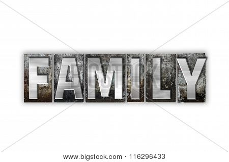 Family Concept Isolated Metal Letterpress Type