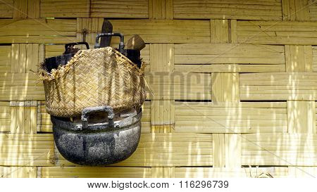 Local Stove Kitchen Outdoor On Woven Bamboo Strips Wall