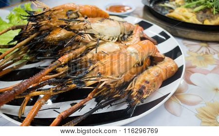 Grilled Prawns Serving On Dish
