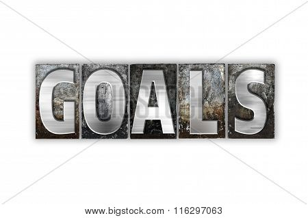 Goals Concept Isolated Metal Letterpress Type