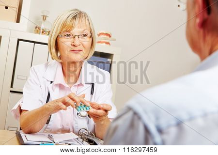 Female doctor telling recommended dosage for medication to a patient