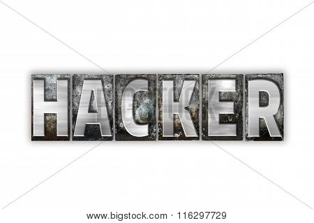 Hacker Concept Isolated Metal Letterpress Type