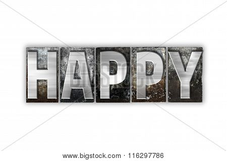 Happy Concept Isolated Metal Letterpress Type