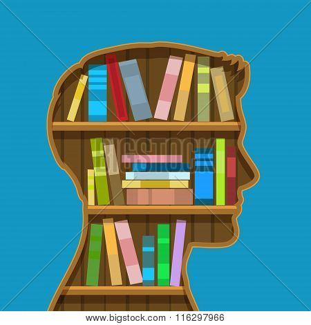 Book shelf in form of head.