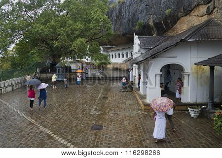 Rainy day at the temple of the sleeping Buddha. Dambulla, Sri Lanka