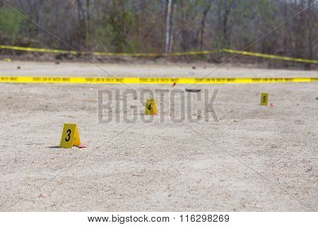 Evidence Number Tag In vehicle  Crime Scene