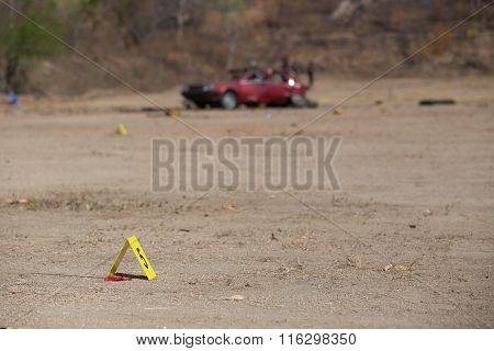 Evidence Number Tag In Car  Explosion  Crime Scene