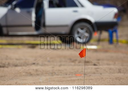 Marking Flag For Explosion Crime Scene