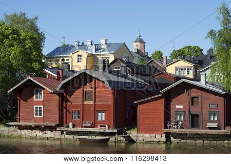 Three old barn on the river Provoice. Porvoo, Finland