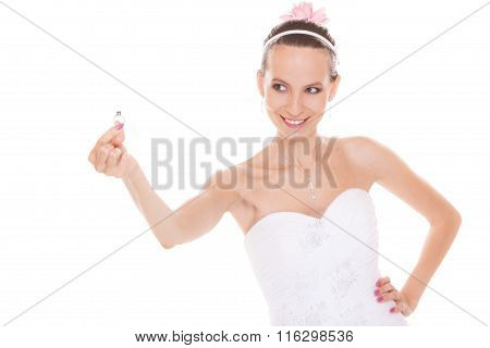 Happy Bride Woman Showing Engagement Ring.