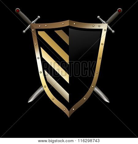 Gold Shield And Swords On Black Background.