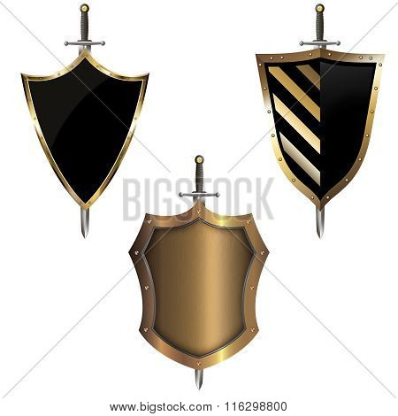 Gold Heraldic Shield With Sword.